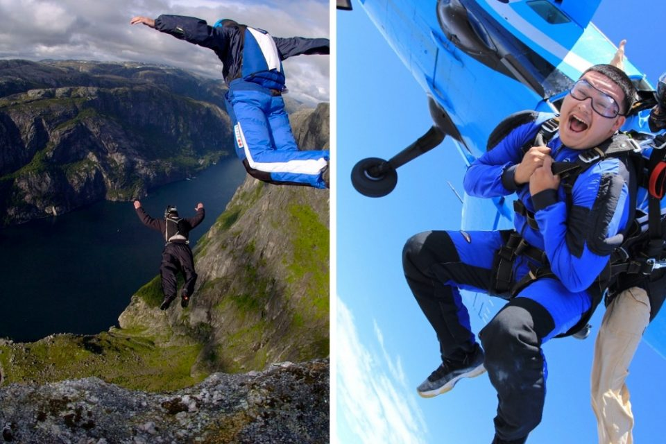 base jumping vs skydiving