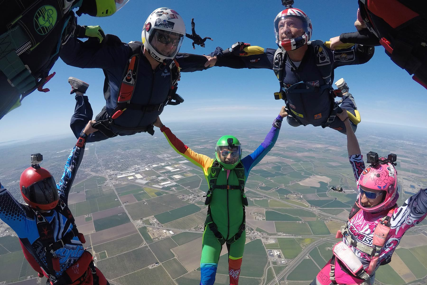 Experienced jumpers in formation at Skydive California.
