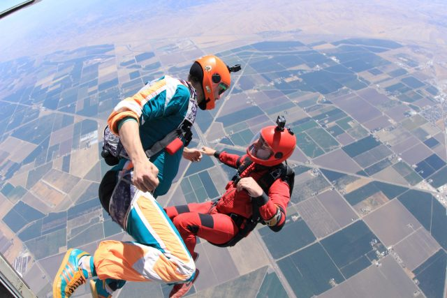 Two experienced skydivers in free fall at Skydive California.