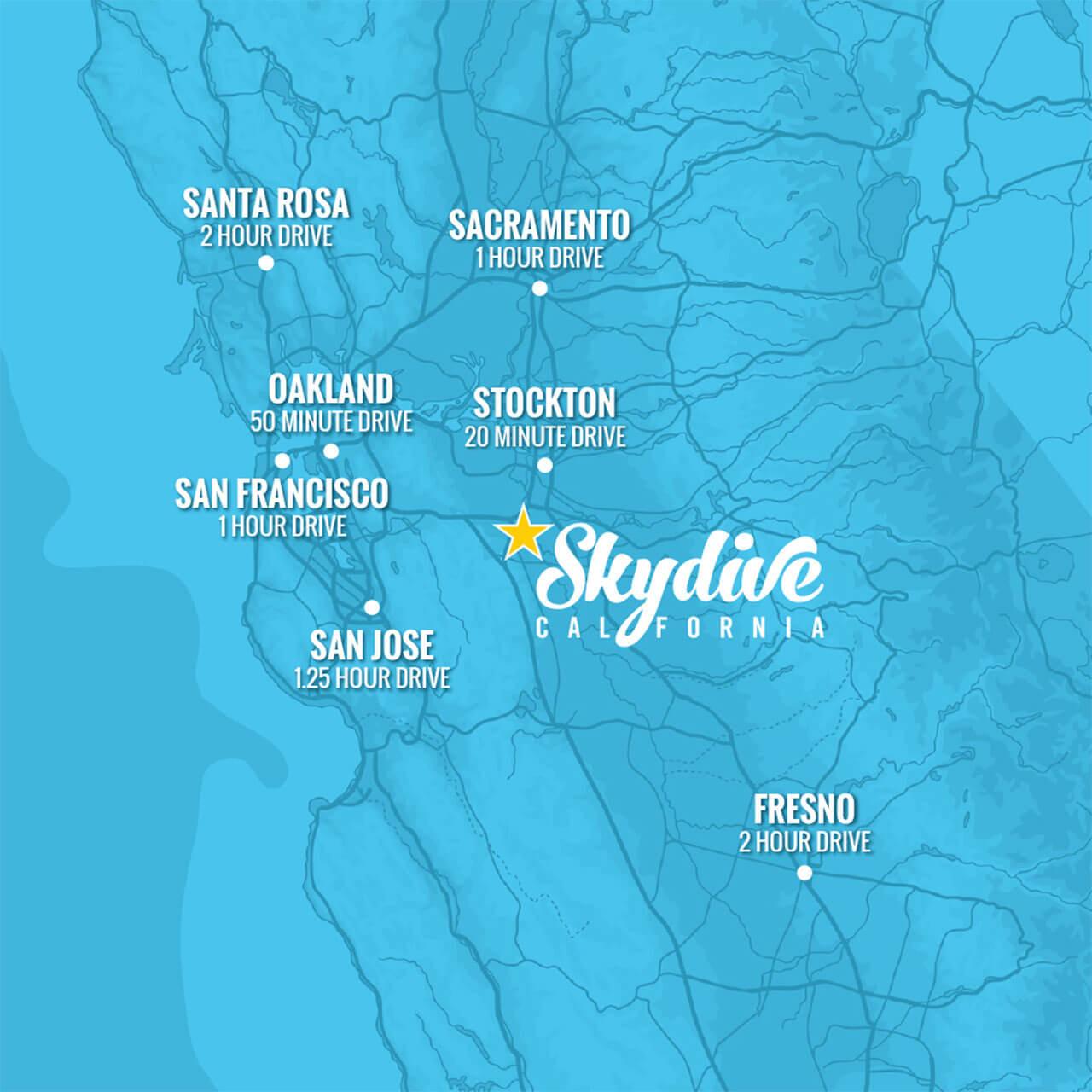 Skydive California map